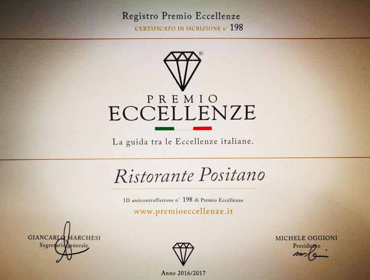 premio eccellenze ristorante positano